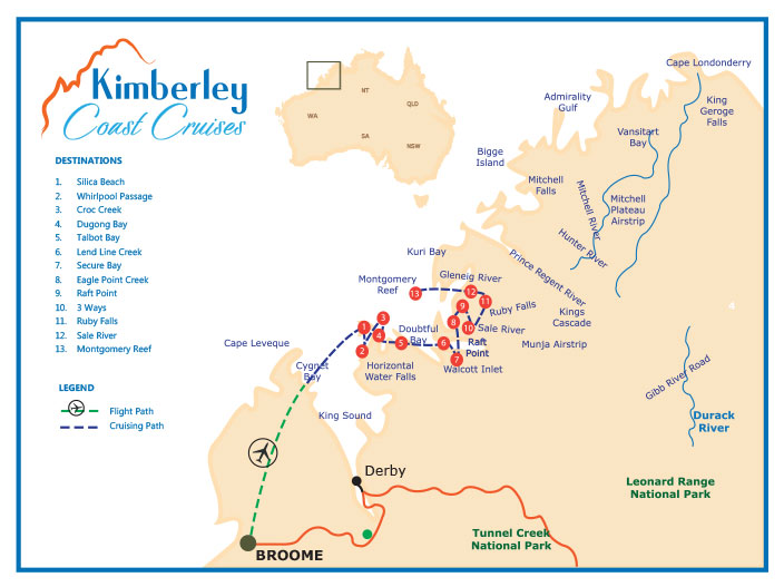 Map showing all destinations for Kimberley Cruises in 2019